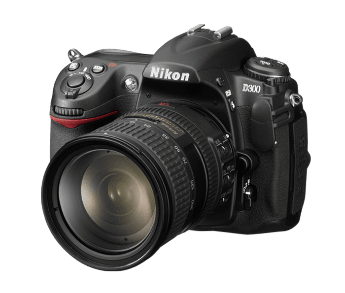A view of the Nikon D300 from the front