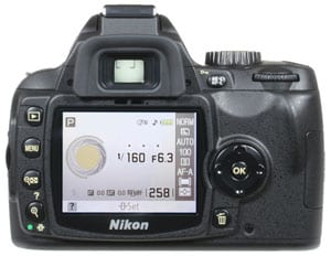 Nikon D60 rear screen