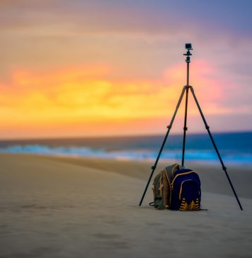 Photo of the Best DSLR Tripod on the beach during a sunset