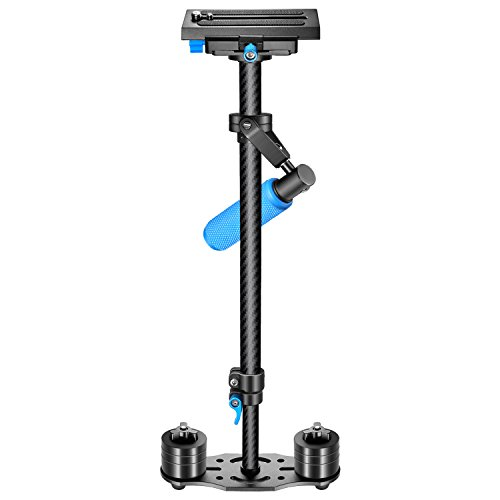 Photo of the Neewer Carbon Fiber Handheld Stabilizer with blue handle
