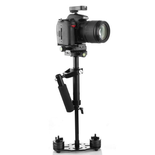 Photo of the SUTEFOTO Mini Handheld Stabilizer Pro Version complete with Nikon DSLR camera